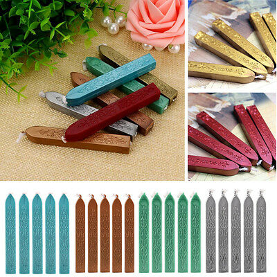 5PCs Manuscript Sealing Wax Sticks With Wicks For Postage Letter Seal Candle NEW