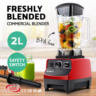 Devanti Commercial Blender - Mixer Juicer Food Processor Smoothie Ice Crush Red