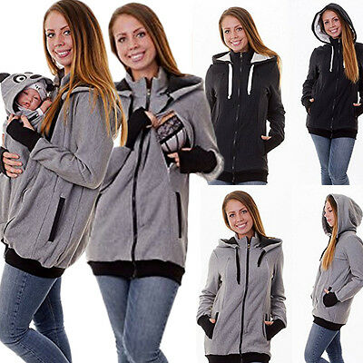 Baby Carrier Jacket Hoodies Kangaroo Maternity Mom Baby Outerwear Coat Pullover