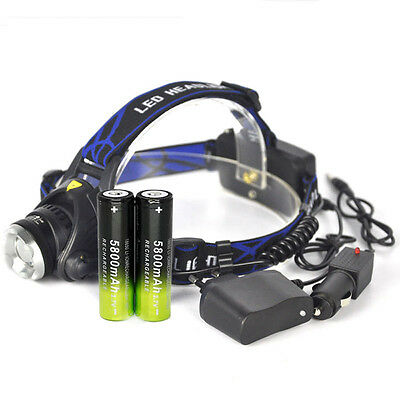 CREE XML Zoomable 8000LM Headlamp T6 LED Headlight 18650 Light Charger Battery