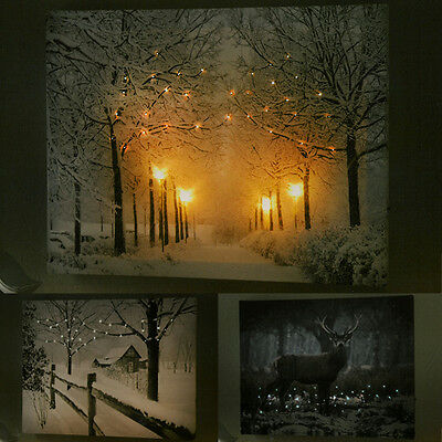 Christmas Winter A3 LED Light Up Festive Canvas Home Office Stylish Wall Art