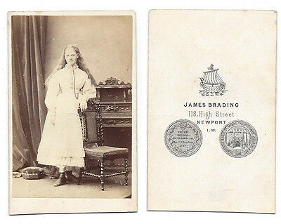 CDV Photo Teenage Girl with Long Hair Carte de Visite by Brading of Newport IOW
