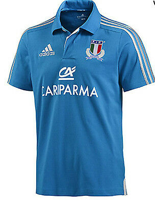 Adidas Forir. Italy Rugby Jersey [Size 140 / 176 ] Short Sleeve Polo Blue
