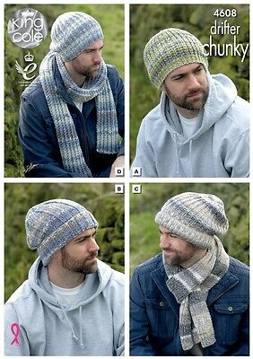 King Cole Mens Hats & Scarves Drifter Knitting Pattern 4608  Chunky (KCP-...