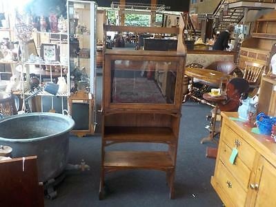 Antique Oak Bookcase / Glass Cabinet / Unit With Draw & Key 19th Century