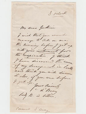 COUNT ALFRED D'ORSAY, artist and dandy, Autograph Letter Signed