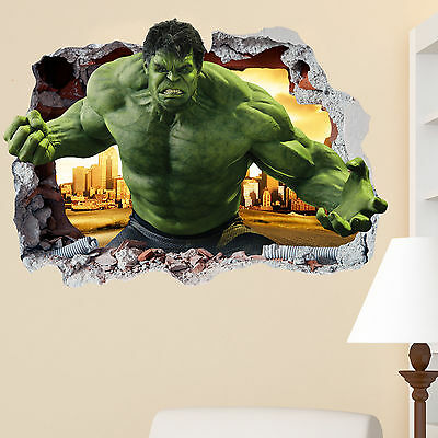 The Hulk Smashed wall Crack Kids Boy Girls Bedroom Vinyl Decal Sticker Gift