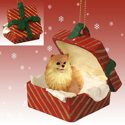 Pomeranian Red Dog RED Gift Box Holiday Christmas ORNAMENT