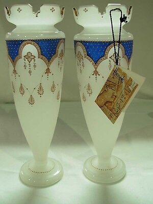 """ANTIQUE PAIR HAND PAINTED 12.5"""" FRENCH OPALINE GLASS VASES c.1860 FROM HARRODS"""