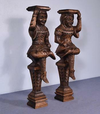 "*23"" Pair of Vintage Carved Oak Figures/Support Posts Pillars Architectural"