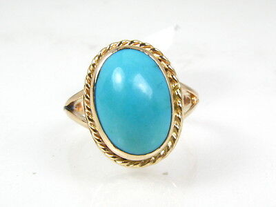 Antique Victorian 14k Rose Gold Persian Turquoise Ladies Ring 4g eb1429