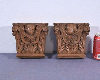 *Pair of French Antique Corinthian Column Tops Trim Pieces in Oak w/Angels