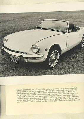 1969 Triumph Spitfire Mark III ORIGINAL Factory Photo & Press Sheet ww3076