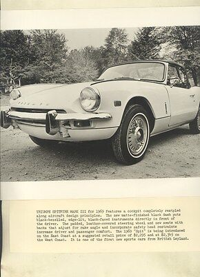 1969 Triumph Spitfire Mark III ORIGINAL Factory Photo & Press Sheet ww3079