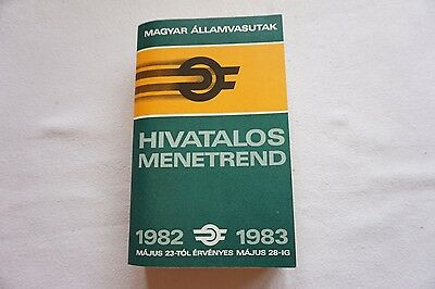 1982 1983 Hungary Hungarian Railway Train Timetable Hivatalos Menetrend