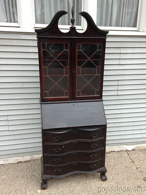 Antique Tall Dark Secretary Desk  Bookcase