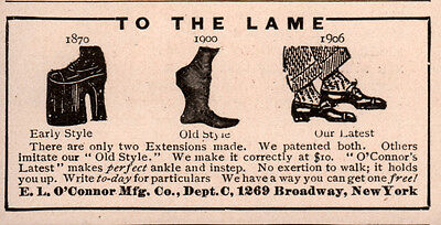 1906 Ad Lame Built Up Shoes 3 Types O'connor Co 1870 - 1906