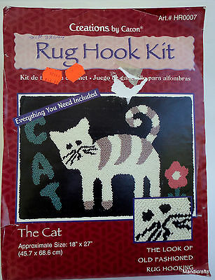 Caron Rug Hook Kit The Cat Floor Primitive Rustic Style Complete 18x27in HR0007