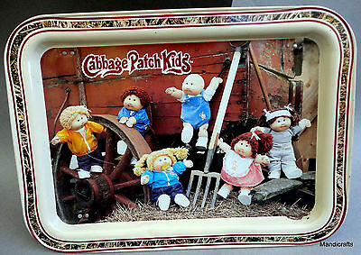 Cabbage Patch Kids TV Bed Tray 17in Metal 1984 w Legs On The Farm Appalachian