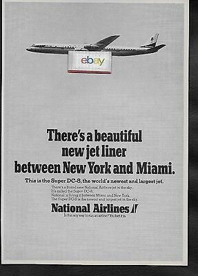 National Airlines 1967 New Beautiful Super Dc-8 Between Miami & New York Ad