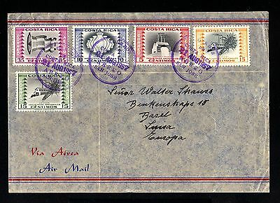 13153-COSTA RICA-AIRMAIL COVER SAN JOSE to BASEL (switzerland)1957.aereo.