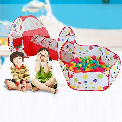 3 in 1 Kids Baby Toddler Tunnel Pop Up Play Tent Indoor Outdoor Cubby Playhouse