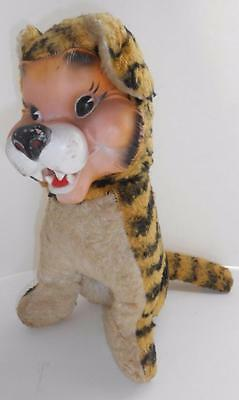 """12"""" rubber vinyl face PLUSH TIGER by MY TOY 1950s vintage"""