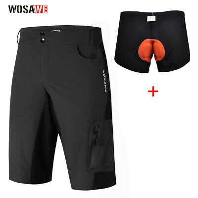 Men' Cycling Mountain MTB Bike Bicycle Shorts Half Pants (+ 3D Padded Underwear)