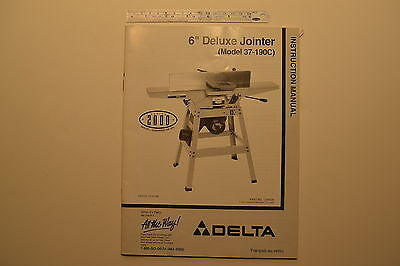 "#J143 DELTA 6"" Deluxe Jointer Model No. 37-190C Instruction Manual 1999"