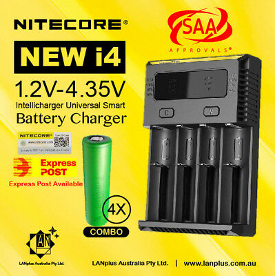 Nitecore New I4 Battery Charger + 4X Sony VTC5 18650 Battery 30A 2600mAH recharg