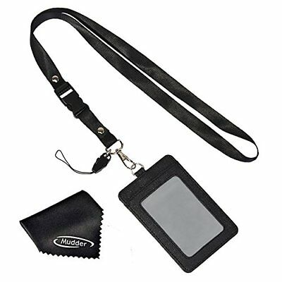 Mudder 2-Sided Vertical PU Leather ID Badge Holder with Detachable Neck Lanyard
