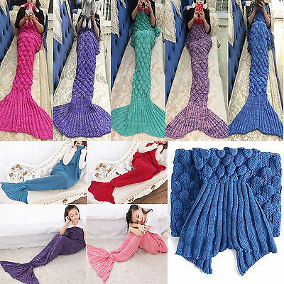 Adult Kid Knitted Mermaid Tail Sofa Blankets Crocheted Cocoon Soft Quilt Rug New