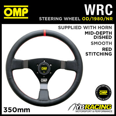 OD/1980/NR OMP WRC STEERING WHEEL 350mm SMOOTH LEATHER BLACK SPOKES & RED TRIM
