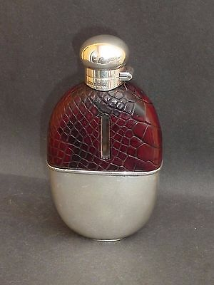 Superb Antique Silver & Crocodile Hip Flask B'ham 1911 Wc Griffiths