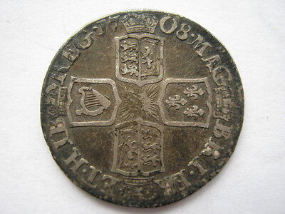 1708 E Queen Anne Sixpence F/GF