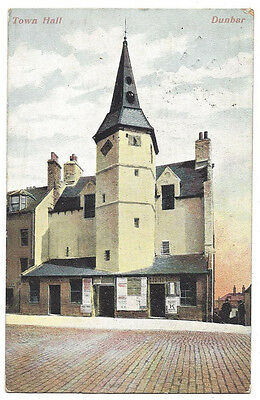 DUNBAR Town Hall, Postcard by Wane & Co, Postally Used 1907