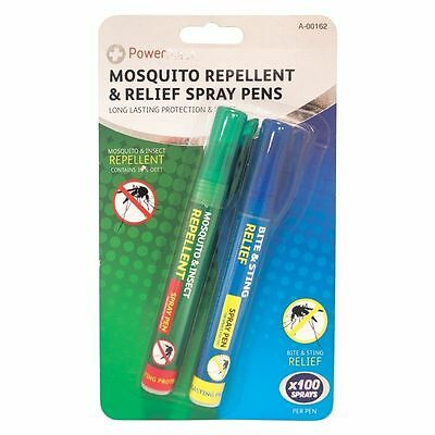 MOSQUITO REPELLENT & RELIEF PENS SPRAY DEET INSECT TRAVEL TROPICAL STING 2 pack