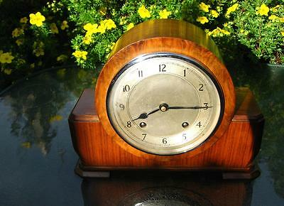 Antique Art Deco Wood Cased Quality Mantel Striking Clock By Garard Working Old