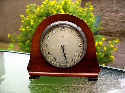 Art Deco Wood 8 Day Small Mantel Clock By Smiths Platform Movement Not Running