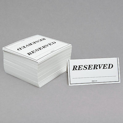"6"" x 3"" Unbranded/Generic Table Tent Sign ""Reserved"" - Double-Sided - 250/Pack"