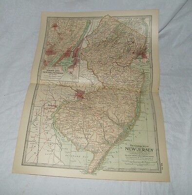 New Jersey Map THE CENTURY DICTIONARY AND CYCLOPEDIA 1906 18873