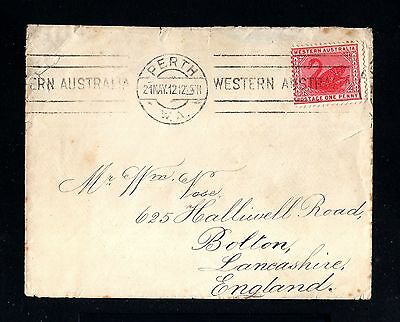 13320-WESTERN AUSTRALIA-OLD COVER PERTH to BOLTON(england)1912.One Penny.BRITISH