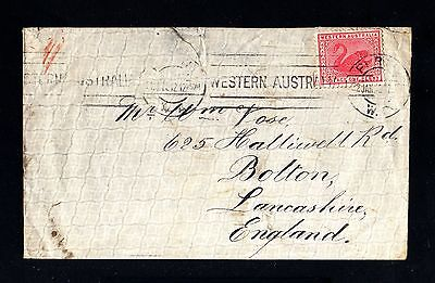 13322-WESTERN AUSTRALIA-OLD COVER PERTH to BOLTON(england)1912.One Penny.BRITISH
