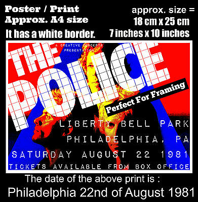 The Police live concert at Philadelphia 22nd of August 1981 A4 size poster print