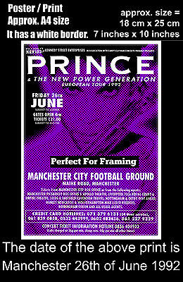 Prince live concert Maine Road Manchester 26th of June 1992 A4 size poster print
