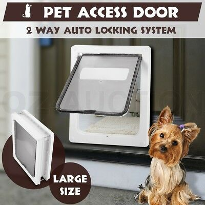 Large 2 Way Lockable Locking Dog Cat Puppy Safe Security Brushy Flap Pet Door