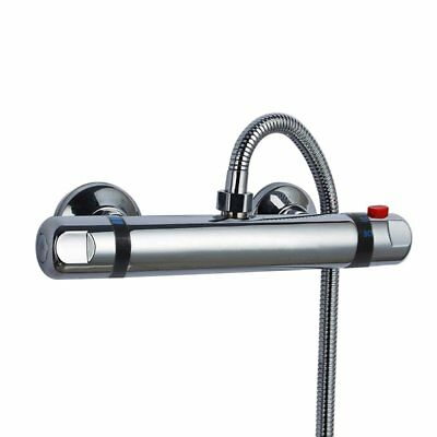 Modern Chrome Thermostatic Exposed Bar Mixer Shower Valve Round TOP Outlet Good
