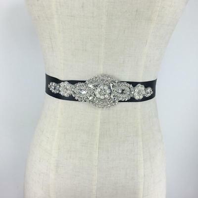 Black Wedding Bridal Sash Belt Crystal Rhinestone Faux Pearl Dress Sash Belt