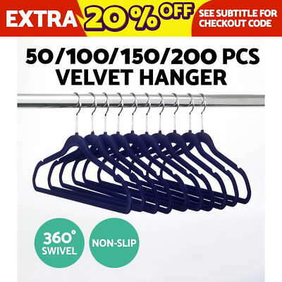 50 - 200 Coat Hangers Flocked Velvet Nonslip Coat Clothes Closet Slim Thin NAVY