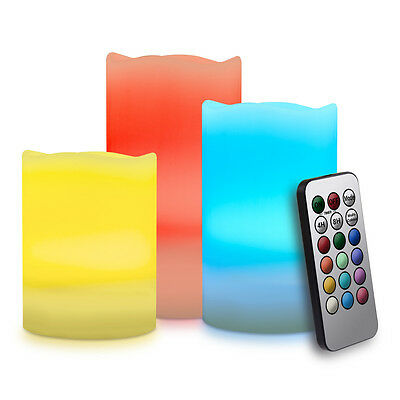 kwmobile  LED Candles Set of 3 with remote control in Bunt